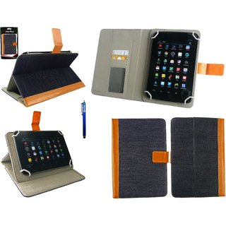 Emartbuy Zebronics Zebpad 7T 100 Tablet 7 Inch Universal Range Denim with Tan Trim Multi Angle Executive Folio Wallet Case Cover With Card Slots + Blue Stylus