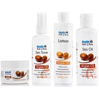 Healthvit Argan Oil Skin Care Kit (Oil ,Lotion,Toner,Cream)