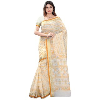 Aagaman Fashion Amusing Cream Colored Printed Blended Cotton Saree 1111