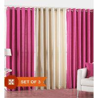 Handloomdaddy Pack Of 3 Beautiful Plain Eyelet Door Curtain (2dark Pink&1cream)