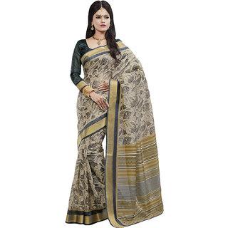Sareemall Cream Art Silk Printed Saree With Blouse