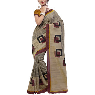Sareemall Beige  Black Strips Print Fancy Art Silk Saree With Unstitched Blouse