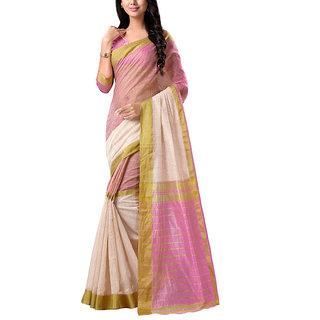 Sareemall Cream  Baby Pink Printed Tassar Silk Saree With Unstitched Blouse
