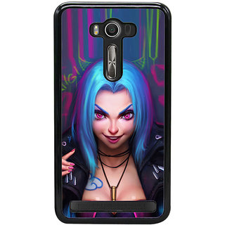 ifasho Blue hair Girl smiling Back Case Cover for Asus Zenfone2 Laser ZE 550KL