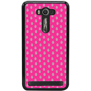 ifasho Animated Pattern design white flower in pink background Back Case Cover for Asus Zenfone2 Laser ZE 550KL