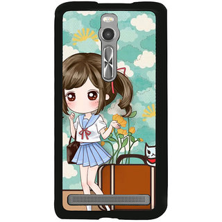 ifasho Cute Girl with bag and Small Cat Back Case Cover for Asus Zenfone 2