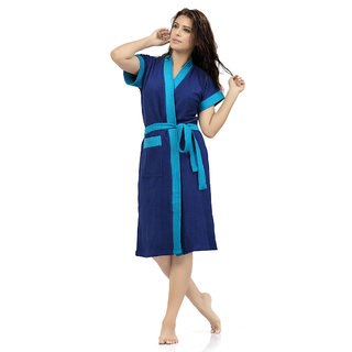 Imported Double Shaded Cotton Bathrobes (Royal Sky)