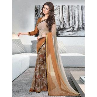 Trendz Apparels Beige Georgette Printed Saree With Blouse