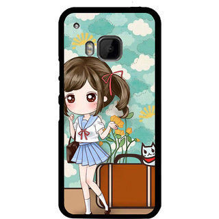 ifasho Cute Girl with bag and Small Cat Back Case Cover for HTC One M9