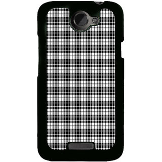 ifasho Modern Theme of black and white Squre lines Back Case Cover for HTC One X