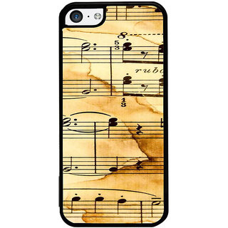 ifasho Animated Pattern design black and white music symbols and lines Back Case Cover for Apple iPhone 5C