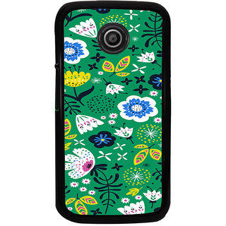 ifasho Animated Pattern colrful design flower with leaves Back Case Cover for Moto E