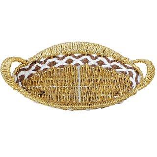Aagaman Fashion Paper  Plastic Oval Shaped Golden Basket HOBSK01