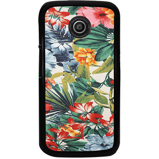 ifasho Animated Pattern colrful flower with leaves Back Case Cover for Moto E2