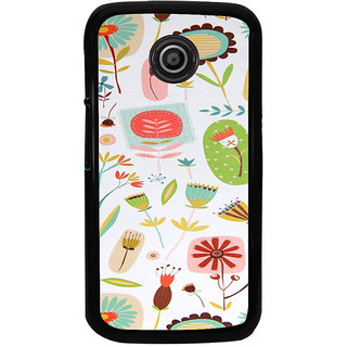 ifasho Animated Pattern colrful flower with leaves Back Case Cover for Moto E