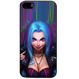 ifasho Blue hair Girl smiling Back Case Cover for Apple iPhone 5