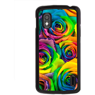 ifasho Animated Pattern colorful rose flower Back Case Cover for LG Google Nexus 4