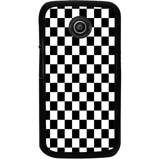 ifasho Squre and Checks In black and white Pattern Back Case Cover for Moto E2
