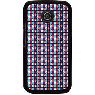 ifasho Colour Full Square Pattern Back Case Cover for Moto E2