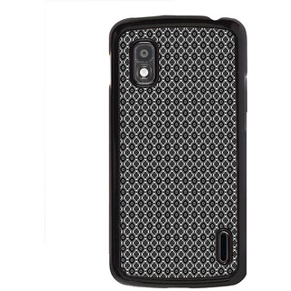 ifasho Animated Pattern design black and white flower in royal style Back Case Cover for LG Google Nexus 4