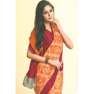 Orange Bhagalpuri Silk Printed Casual and Party Saree