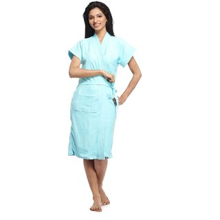 Imported Cotton Bathrobe (Sky Blue)
