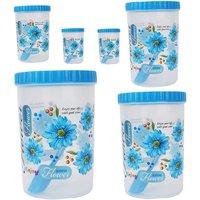 Stylobby - 1000 ml, 1500 ml, 2000 ml, 250 ml, 250 ml, 500 ml, Storage Container  (Pack of 6, Blue)