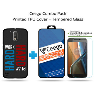 Ceego Back Cover + Tempered Glass Combo for Moto G4 / Moto G 4th Gen (Save 20)