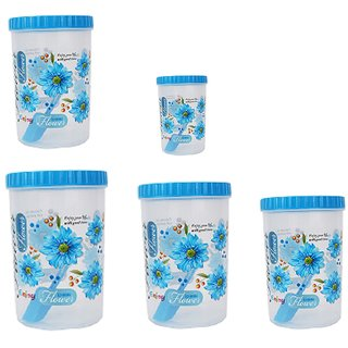 Stylobby - 1000 ml, 1000 ml, 1200 ml, 1100 ml, 250 ml, Storage Container  (Pack of 5, Blue)