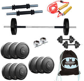 GB 30 Kg Home Gym Set + Rope + Gym Bag + Dumbbells rods + 3 FT BAR