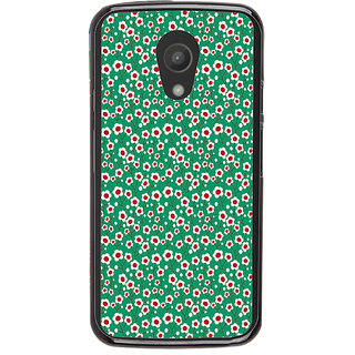 ifasho Pattern green white and red animated flower design Back Case Cover for Moto G2