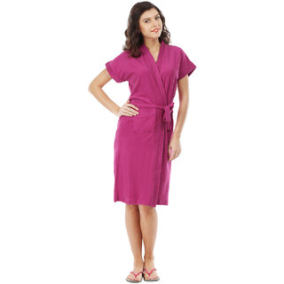 Imported Cotton Bathrobe (Magenta)