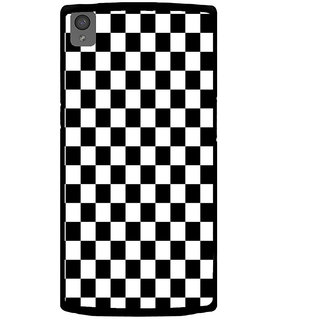 ifasho Squre and Checks In black and white Pattern Back Case Cover for One Plus X