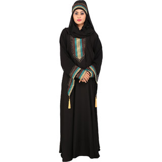 Astron India Abaya with Scarf Umbrella Style with Embroidery and Diamond Work.