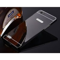 Oppo Neo 7 Case Cover, Luxury Metal Bumper +  Acrylic Mirror Back Cover Case For Oppo Neo 7 - Black