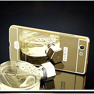 Buy Oppo Neo 5 Case Cover, Luxury Metal Bumper + Acrylic Mirror Back Cover Case For Oppo Neo 5 - Gold Online - Get 40% Off