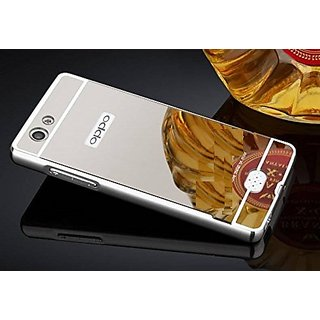 best service e5fe1 b64bc Oppo Neo 5 Case Cover, Luxury Metal Bumper + Acrylic Mirror Back Cover Case  For Oppo Neo 5 - Silver