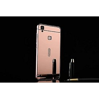 VIVO V3 Case Cover, Luxury Metal Bumper + Acrylic Mirror Back Cover Case For VIVO V3 - Rose Gold