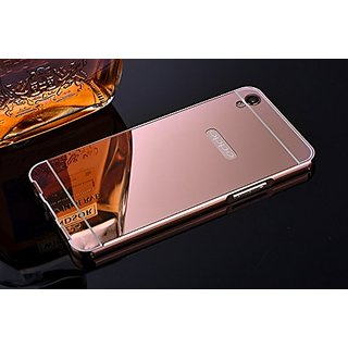 huge discount 276be b8f27 Oppo A37 Case Cover, Luxury Metal Bumper + Acrylic Mirror Back Cover Case  For Oppo A37 - Rose Gold
