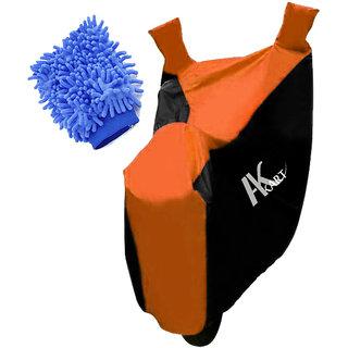 Ak Kart Black  Orange Bike Body Cover With Microfiber Vehicle Washing Hand Cloth For Hero Passion Xpro