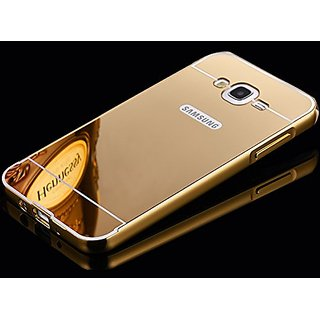 Samsung Galaxy J7 Case Cover, Luxury Metal Bumper +  Acrylic Mirror Back Cover Case For Samsung Galaxy J7 - Gold