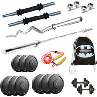 GB 32 Kg Home Gym Set Package with 5FT Rod + 3FT ZIG ZAG + Gym Bag + Rope
