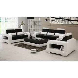 Black and white 3 2 1 seater sofa set with center table for Sofa center table designs