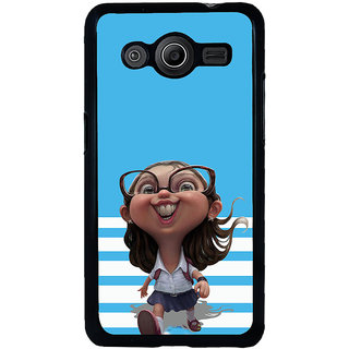 ifasho Cute Girl with Specs running to school cartoon Back Case Cover for Samsung Galaxy Core 2 G355H