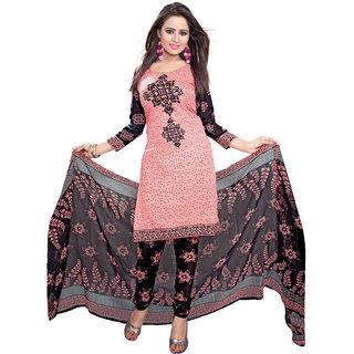 Trendz Apparels Peach Poly cotton Casual Wear Un-Stitched Dress Material