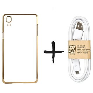 Meephone Back Cover for Samsung Galaxy Core Prime SM-G360 (GOLDEN) With Usb Cable