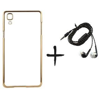 Meephone Back Cover for Vivo V3  (GOLDEN) With Tarang Earphone