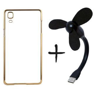 Meephone Back Cover for Samsung Galaxy Core Prime SM-G360 (GOLDEN) With USB Fan