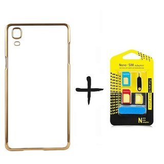 Meephone Back Cover for Samsung Galaxy S7 edge (GOLDEN) With Noosy Nano Sim Adapter
