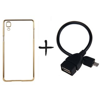 Meephone Back Cover for Samsung Galaxy A8 (GOLDEN) With OTG CABLE